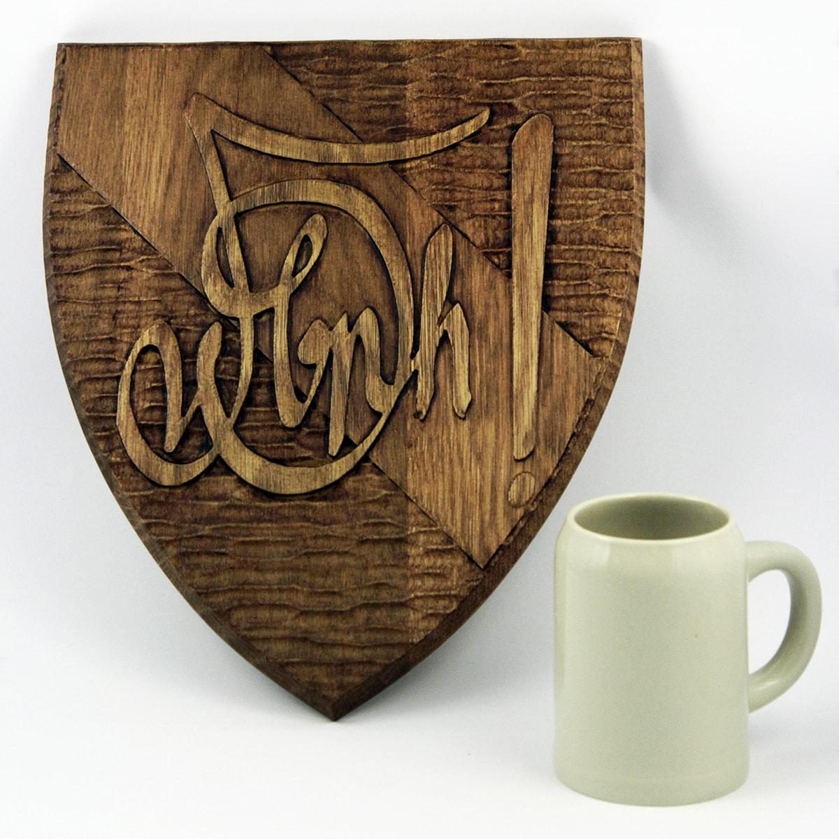 Zirkelschild aus Holz