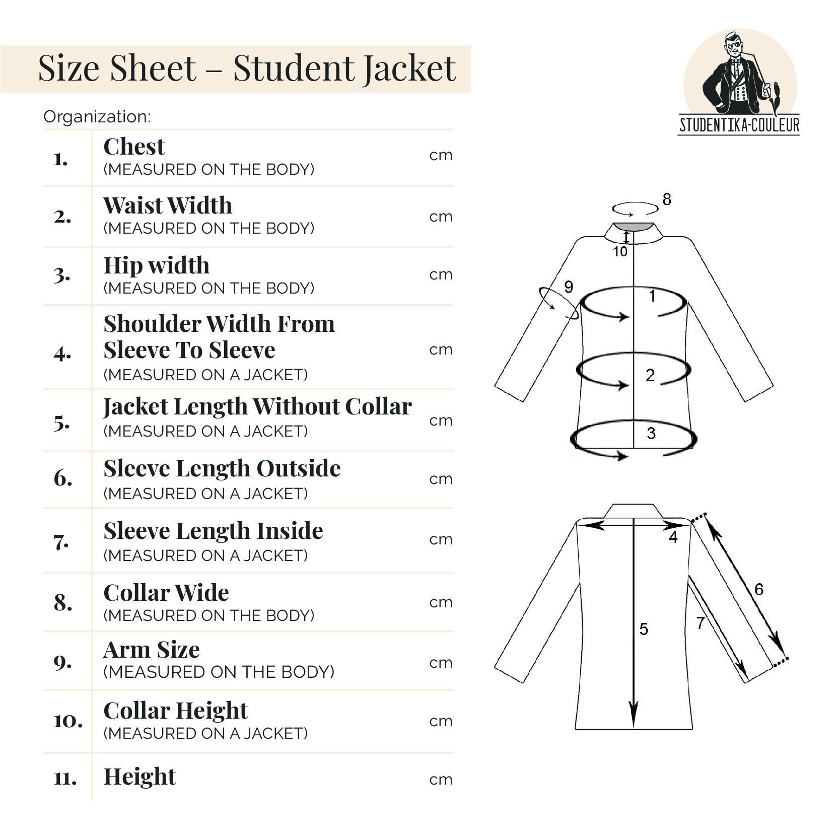 studentika-couleur size sheet